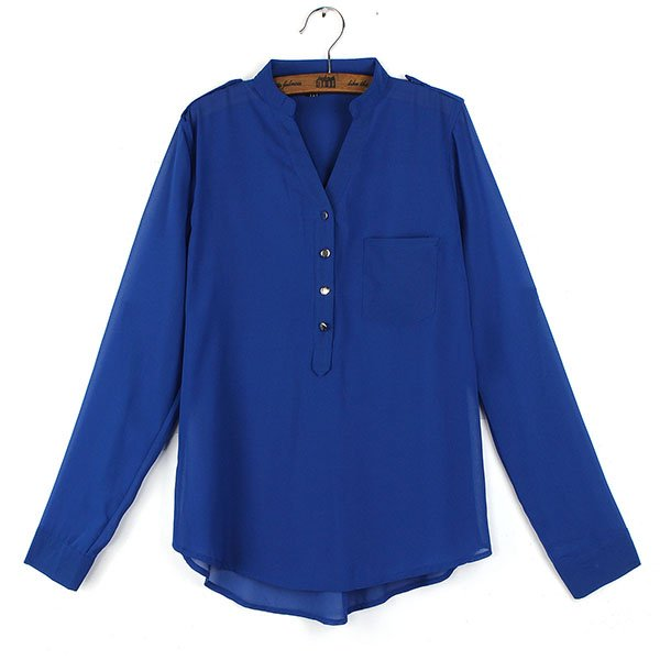 Casual Elegant Loose Long Sleeve V-neck Chiffon Blouse Shirts