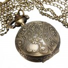 Vintage Bronze Hollow Flower Key Star Pendant Quartz Pocket Watch