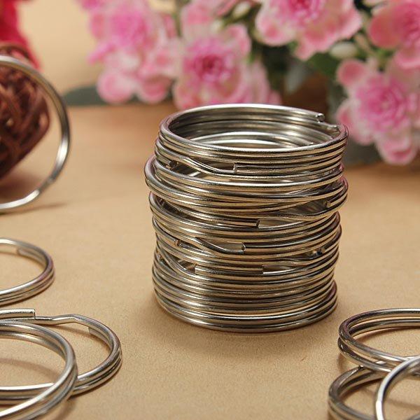 100Pcs 25mm Metal Split Rings Nickel Steel Hoop Keyrings
