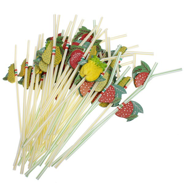 50PCS 3D Fruit Cocktail Drinking Straws Artistic Suction Tubes
