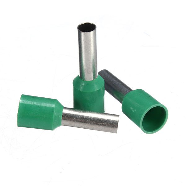 100Pcs AWG 10 Green Wire Copper Crimp Insulated Cord Pin End Terminal