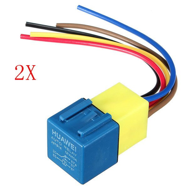 2x Automotive Relay with Wiring Harness and Socket 12Volt 30A 40A
