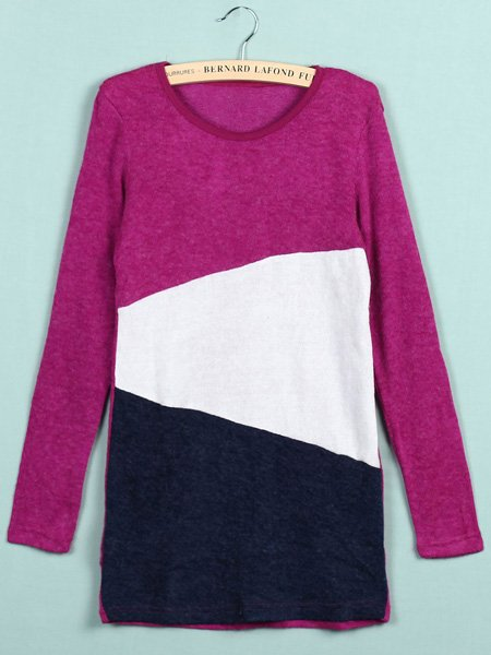 Multicolor Crew Neck Long Sleeve Womens Knitted Sweater Jumper Knitwear