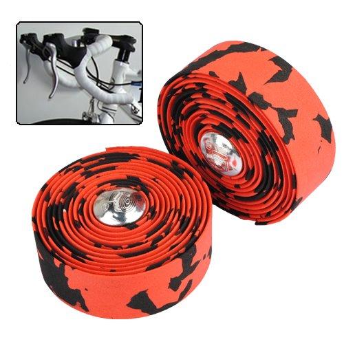 Bike Bicycle Cork Handlebar Tape Wrap +2 Bar Plug Red