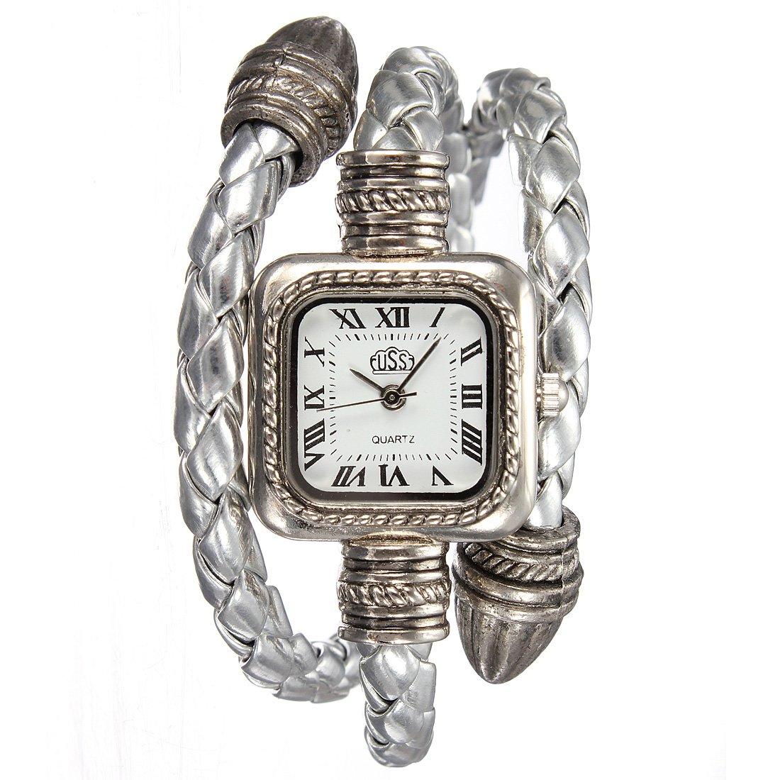 Lady Fashion Knitted Leather Bracelet Style Square Quartz Wrist Watch