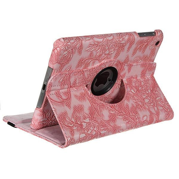 360 Degree Rotating Embossed Flower PU Leather Case For iPad Mini