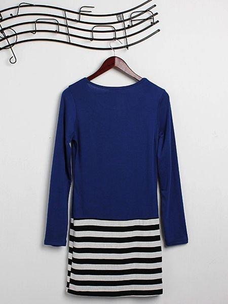 Zanzea Women Long Sleeve T-shirt Striped Dress