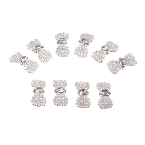 Rhinestone White Beads Bowknot Nail Art Decorations