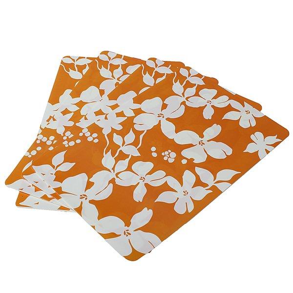 4 Pcs Floral Print Design White Flowers Colorful PVC Table Mats