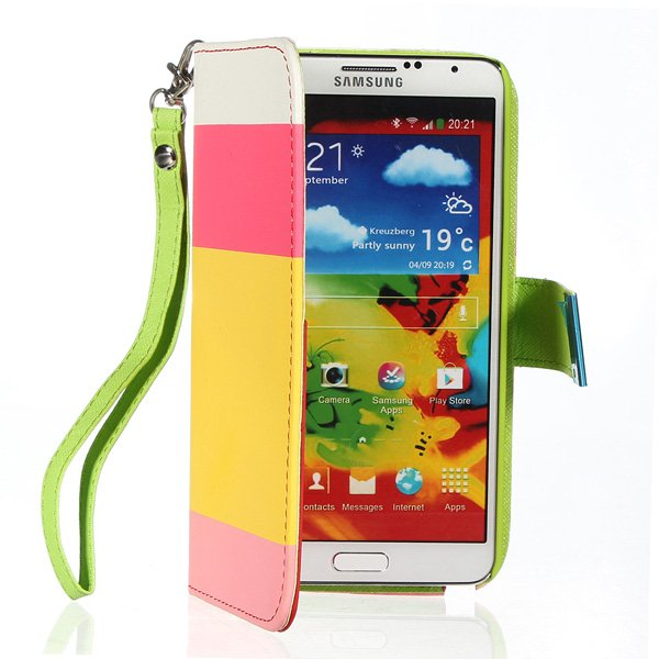 Hybrid Color PU Leather Wallet Stand Case For Samsung Note 3 N9000