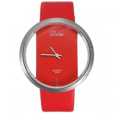 Unisex Leather Transparent Dial Hollow Quartz Wrist Watch