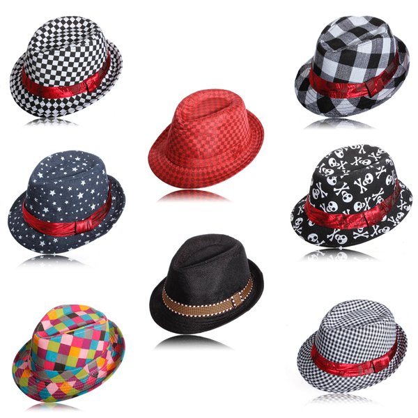 Flat Top Fedora Boys Canvas Cap Kids Blues Jazz Dance Hat