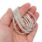 5pcs Silver Elastic Wedding Bridal Diamante Crystal Bracelet Bangle