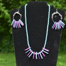 Handmade Teal and Dark Purple Wood Necklace