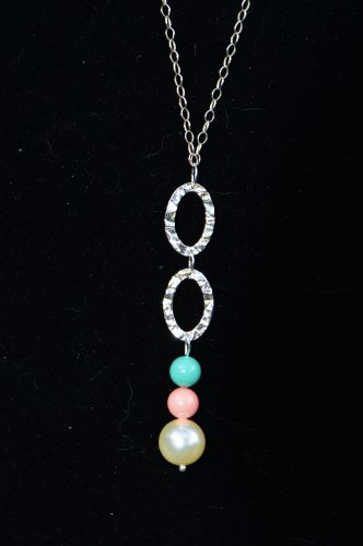Teal and Pink Coral Link Necklace set