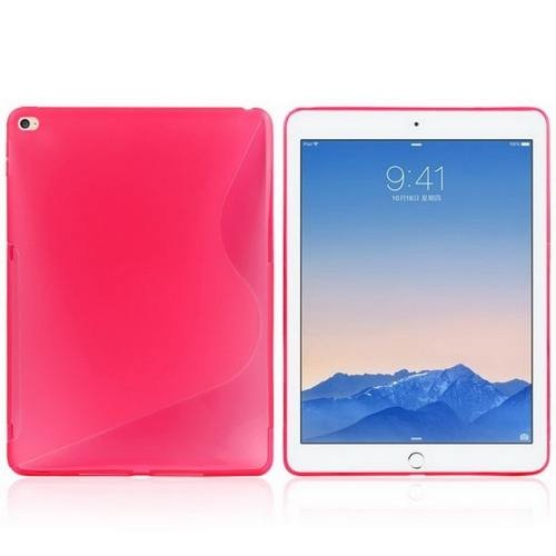 For iPad Air 2 Magenta S Line Anti-slip Frosted TPU Protective Case