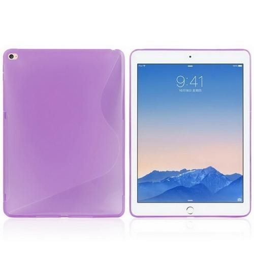 For iPad Air 2 Purple S Line Anti-slip Frosted TPU Protective Case