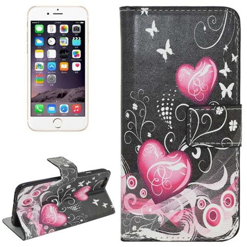 For iPhone 6 Plus Pink Heart Leather Case with Holder, Card Slots & Wallet