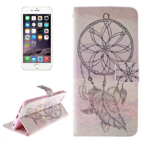 For iPhone 6 Plus Windbell Cap Double Sided Print Leather Case with Holder, Card Slots & Wallet