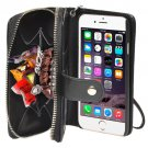 For iPhone 6 Black 2 in 1 Separable Zipper Wallet Leather Case with Lanyard
