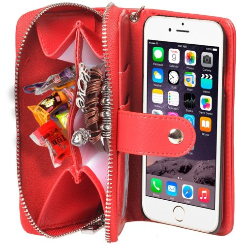 For iPhone 6 Red 2 in 1 Separable Zipper Wallet Leather Case with Lanyard