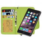 For iPhone 6 Plus Green Separable Wallet Style Magnetic Flip PU Leather Case with Lanyard