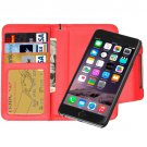 For iPhone 6 Plus Red Separable Wallet Style Magnetic Flip PU Leather Case with Lanyard
