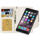 For iPhone 6 Plus White Separable Wallet Style Magnetic Flip PU Leather Case with Lanyard