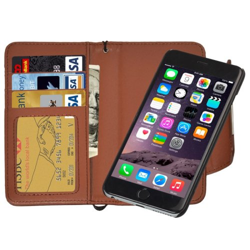 For iPhone 6 Plus Brown Separable Wallet Style Magnetic Flip PU Leather Case with Lanyard