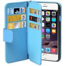 For iPhone 6 Plus Blue Wallet Style Six Card Slots PU Leather Case with Lanyard