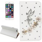 For iPhone 6 Plus Butterfly Diamond Encrusted Leather Case with Holder & Card Slots