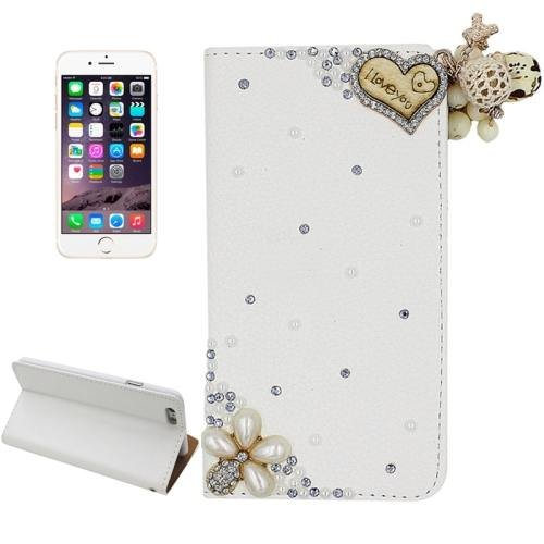 For iPhone 6 Plus Heart Diamond Encrusted Leather Case with Holder & Card Slots