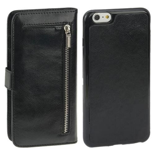 For iPhone 6 Plus Black Separable Crazy Horse Texture Wallet Flip Leather Case
