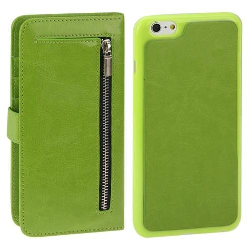 For iPhone 6 Plus Green Separable Crazy Horse Texture Wallet Flip Leather Case