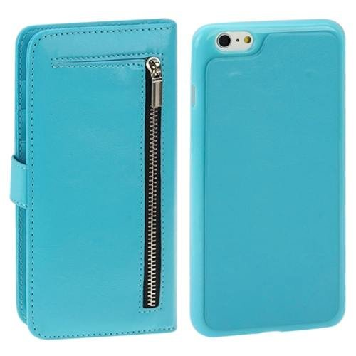 For iPhone 6 Plus Blue Separable Crazy Horse Texture Wallet Flip Leather Case
