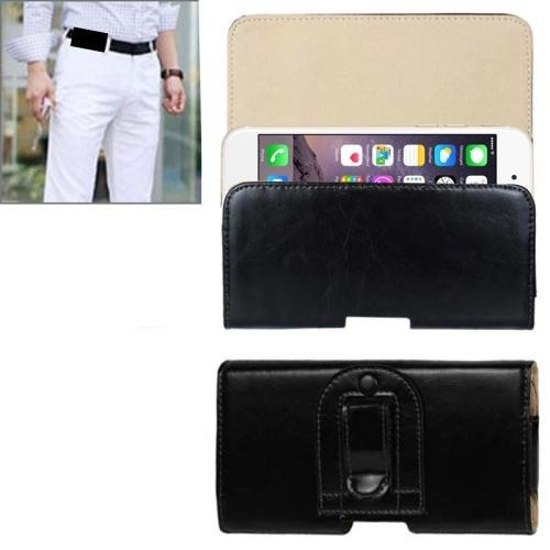 For iPhone 6 Plus Black Crazy Horse Texture Horizontal Style Leather Waist Bag