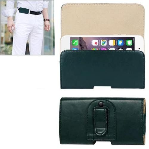 For iPhone 6 Plus Green Crazy Horse Texture Horizontal Style Leather Waist Bag