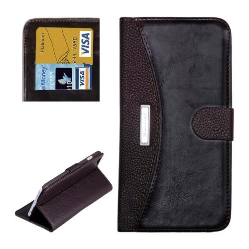 For iPhone 6 Plus Brown Litchi Flip Leather Case with Card Slots, Wallet & Holder