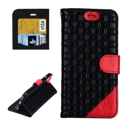 For iPhone 6 Plus Black + Red Woven Leather Case with Card Slots, Wallet & Holder