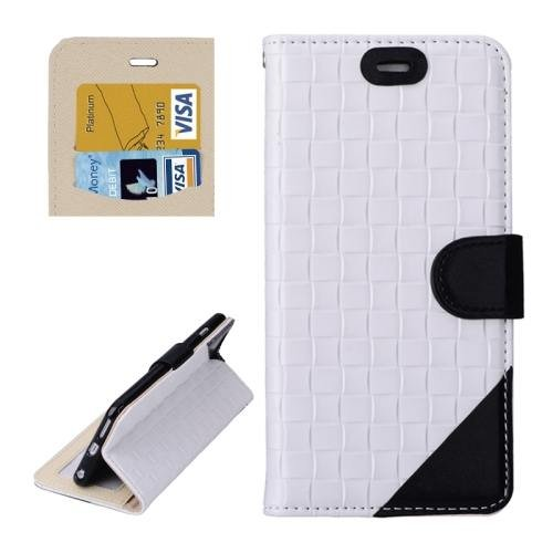 For iPhone 6 Plus White + Black Woven Leather Case with Card Slots, Wallet & Holder