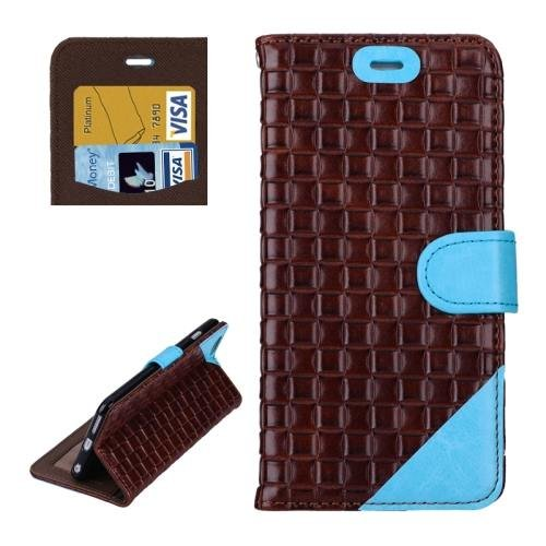 For iPhone 6 Plus Brown + Blue Woven Leather Case with Card Slots, Wallet & Holder