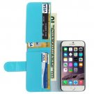 For iPhone 6 Plus Blue Crazy Horse Wallet Style Leather Case with Lanyard and Card Slots