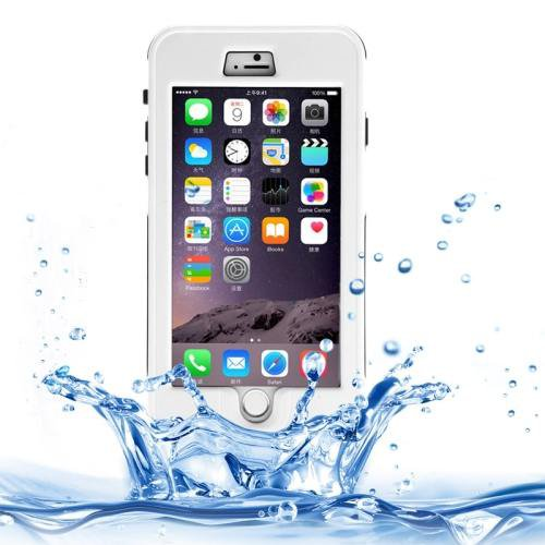 For iPhone 6 Plus White Link Dream Waterproof Protective Case with Lanyard