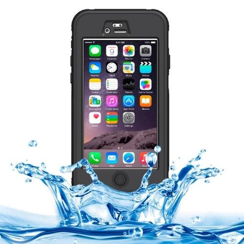 iPhone 6 Plus Black ABS Material Waterproof Protective Case with Button & Touch Screen