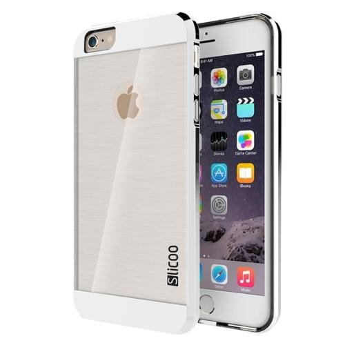 iPhone 6 Plus Silver Slicoo Brushed Texture Electroplating Transparent Combination Case
