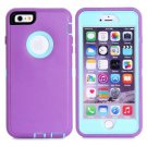 iPhone 6 Plus Purple+Light Blue 3 in 1 Hybrid Silicon & Plastic Protective Case