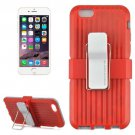 For iPhone 6 Plus Red Plastic and TPU Combination Case with Rotatable Clip and Holder
