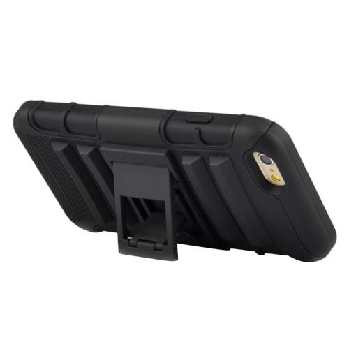 For iPhone 6 Plus Black 2 in 1 Split Sliding Silicone+Plastic Combination Case with Holder