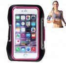 For iPhone 6 Plus Magenta Armband Case with Earphone Hole, Key Pocket, Earphone Winder & Card Slot