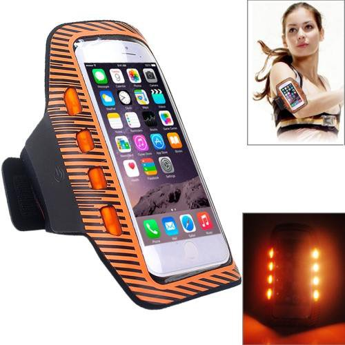 For iPhone 6 Plus Orange Colorful Sport Armband Case with LED Lighting